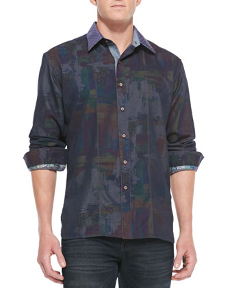 Pourhouse Abstract-Print Sport Shirt, Blue