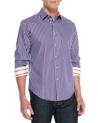 Abingdon Striped Sport Shirt, Purple