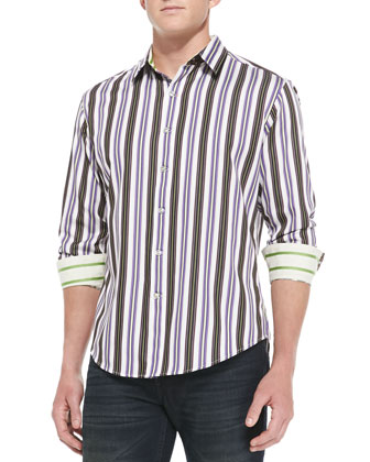 Midland Striped Sport Shirt, Purple