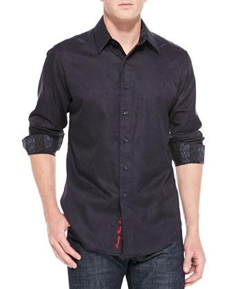 Wesport Tonal-Paisley Jacquard Shirt, Black