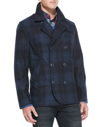 Plaid Double-Breasted Coat, Navy