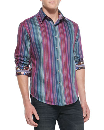 Reservoir Striped Sport Shirt, Blue