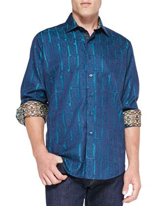 Marquies Jacquard Sport Shirt, Blue