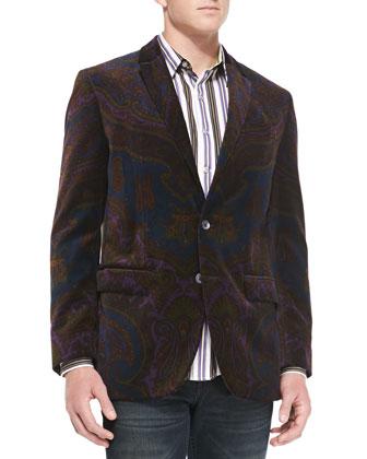 Paisley-Print Velvet Jacket, Black