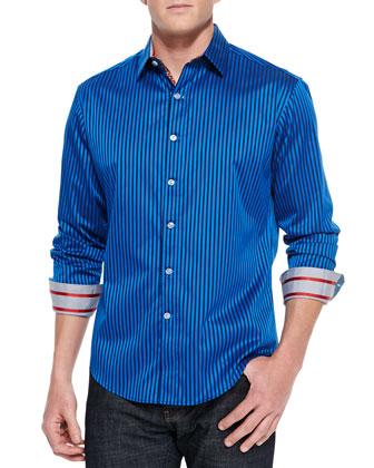 Trinity Stripe Sport Shirt, Blue