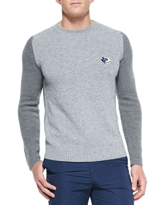 Cotton-Blend Logo Sweater, Gray