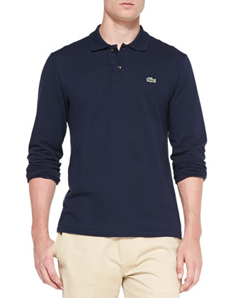 Long-Sleeve Classic Pique Polo, Navy