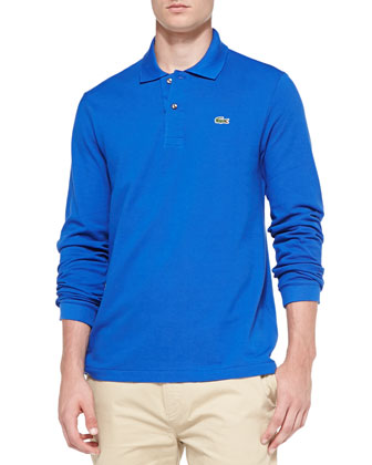 Long-Sleeve Classic Pique Polo, Blue