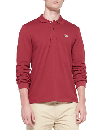 Long-Sleeve Classic Pique Polo, Red