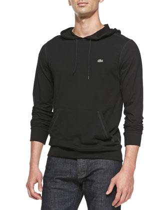Long-Sleeve Hooded Jersey Tee, Black