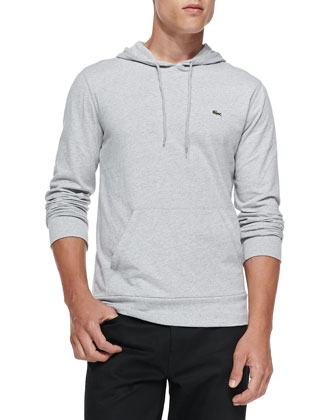 Long-Sleeve Hooded Jersey Tee, Gray
