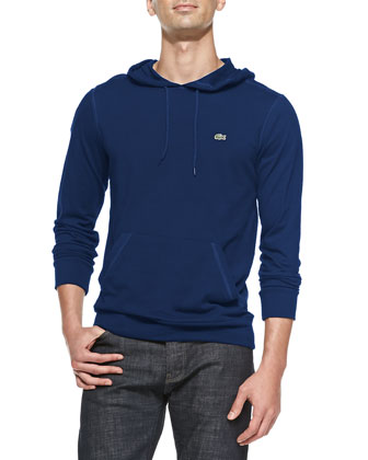 Long-Sleeve Hooded Jersey Tee, Blue