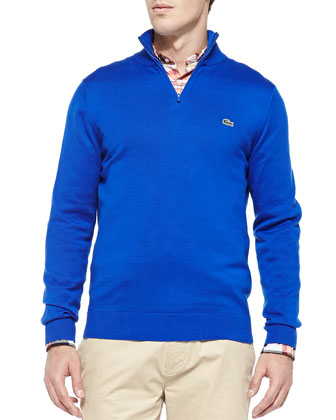 Half-Zip Knit Sweater, Bright Blue