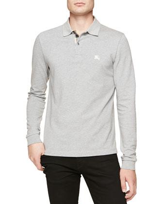 Long-Sleeve Pique Polo, Gray Melange