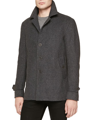 Wool/Cashmere Single-Breasted Coat, Dark Gray