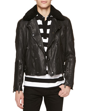 Shearling-Collar Leather Biker Jacket