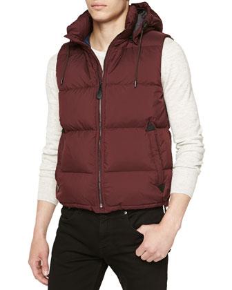 Quilted Hooded Puffer Vest, Dark Plum