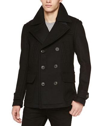Double-Face Pea Coat, Black
