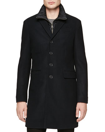 Car Coat with Detachable Warmer, Navy