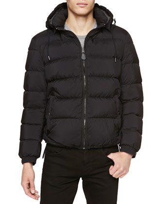 Quilted Puffer Jacket with Detachable Hood, Black