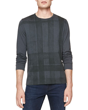 Long-Sleeve Check-Graphic Tee, Gray