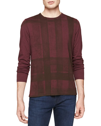 Long-Sleeve Check-Graphic Tee, Burgundy