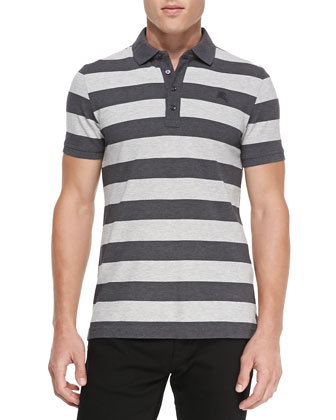 Striped Short-Sleeve Polo Shirt, Gray