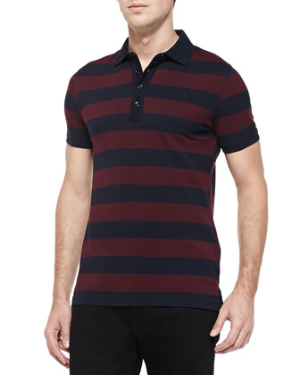 Wide-Stripe Pique Polo, Navy/Plum