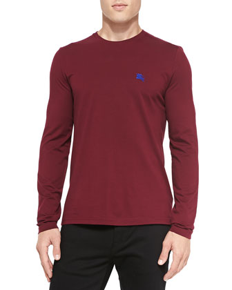 Long-Sleeve Crewneck Tee, Dark Plum