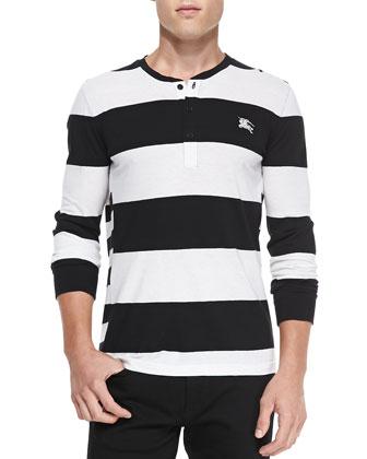Long-Sleeve Block-Striped Henley, Black/White