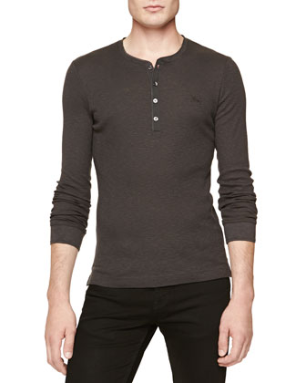 Ribbed Long-Sleeve Henley, Charcoal