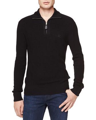 Half-Zip Ribbed Sweater w/ Logo