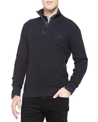 Ribbed Knit Half-Zip Pullover, Dark Gray