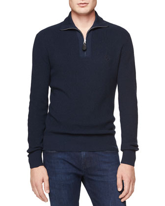 Cashmere-Cotton 1/2-Zip Sweater, Navy