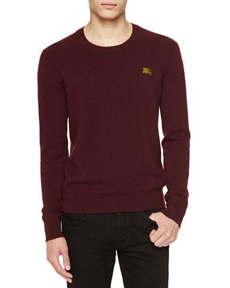 Cashmere Crewneck Sweater, Deep Claret