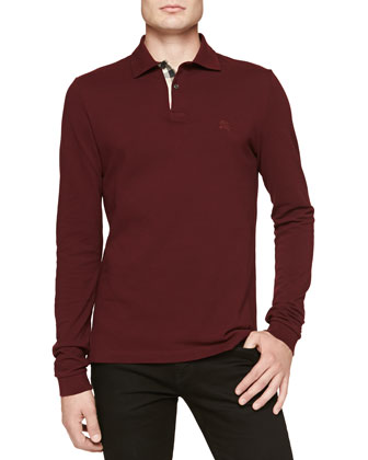Long-Sleeve Pique Polo, Maroon