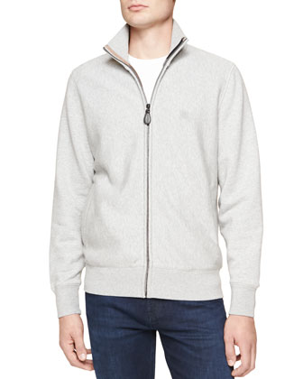 Jersey Zip-Front Jacket, Light Gray