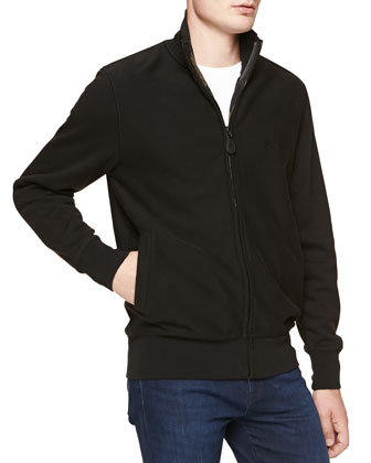 Jersey Zip-Front Jacket, Black