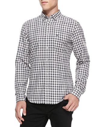Gingham-Check Woven Shirt, Gray