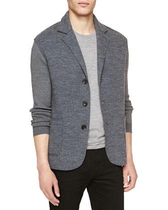 Soft-Knit Three-Button Blazer