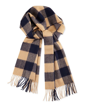 Men's Cashmere Buffalo Check Plaid Scarf, Brown/Navy