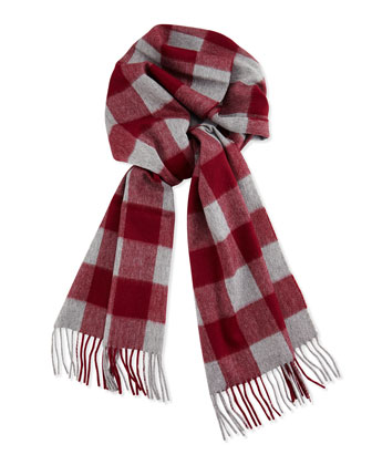 Men's Cashmere Buffalo Check Plaid Scarf, Gray/Bordeaux
