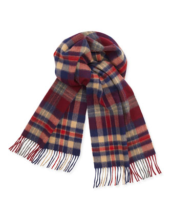Cashmere Plaid Scarf w/ Fringe, Red/Blue/Camel/Gray