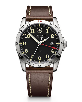 Infantry Large GMT Watch with Brown Leather Strap
