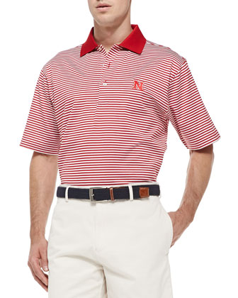 Nebraska Striped Gameday College Polo Shirt