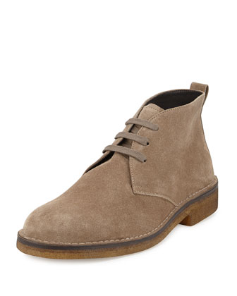 Suede Crepe-Sole Chukka Boot, Gray