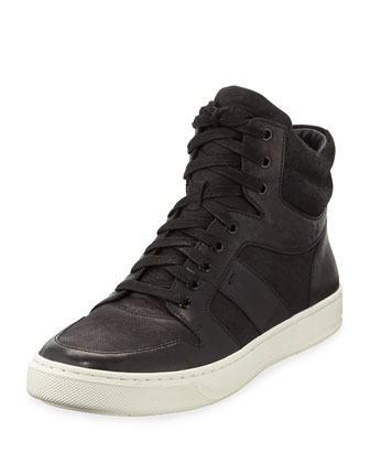 Adam Leather High-Top Sneaker, Black