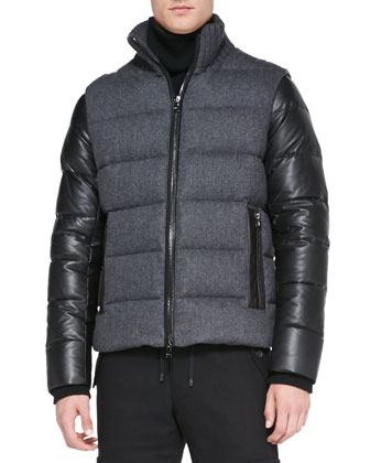Flannel/Tech Puffer Jacket, Rib-Trim Cashmere Turtleneck & Flannel Cargo ...