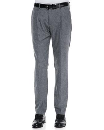 Felt Pleat-Front Trousers