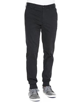 Long-Sleeve Henley Shirt & Rib-Cuff Trousers